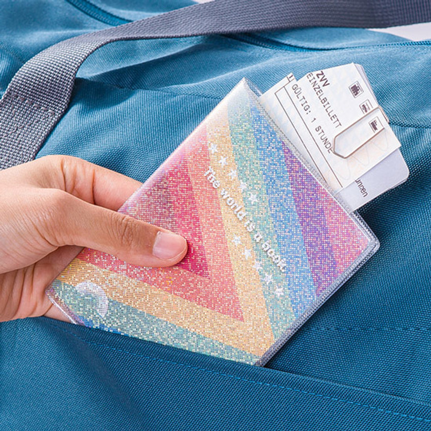 Triangle - Rainbow hologram passport case holder