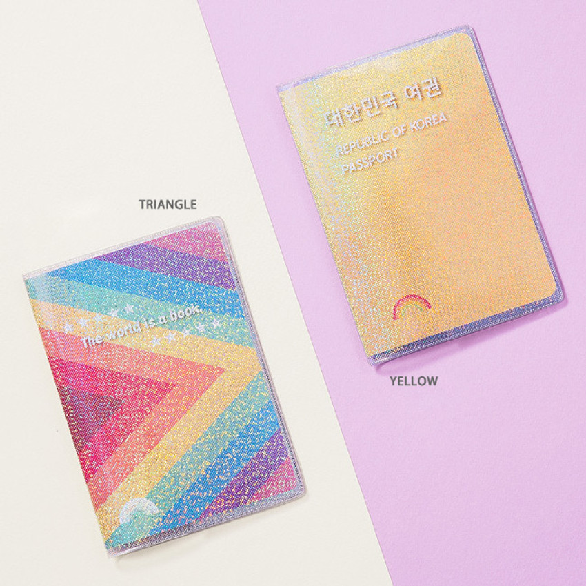 Triangle, Yellow - Rainbow hologram passport case holder