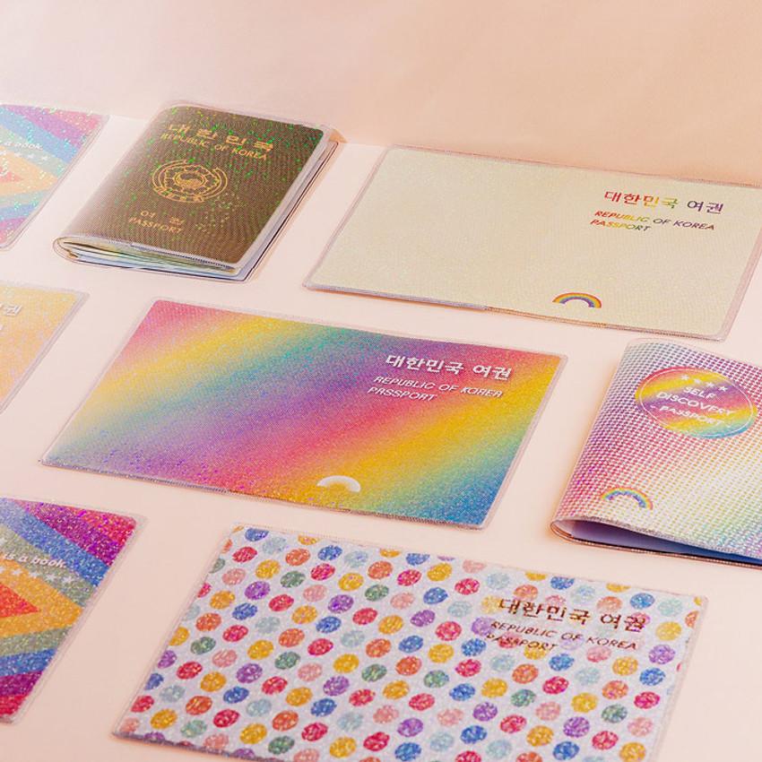 Rainbow hologram passport case holder