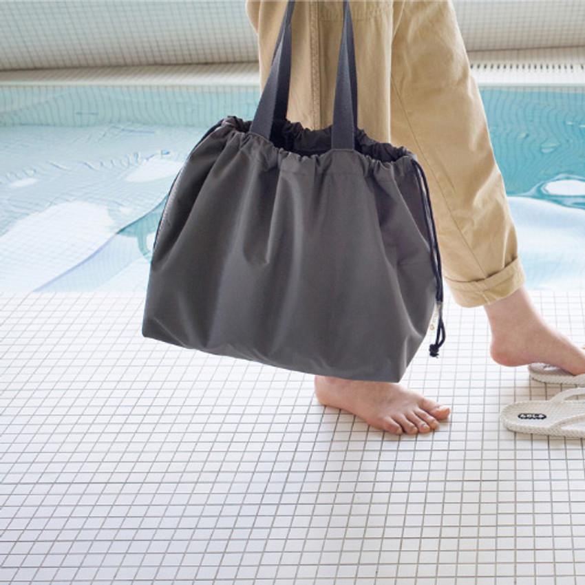 Charcoal gray - Travelus travel pocket drawstring shoulder bag