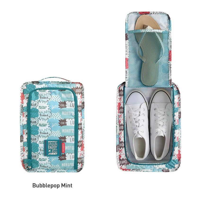Bubblepop mint - Monopoly Enjoy journey travel zip shoes pouch bag