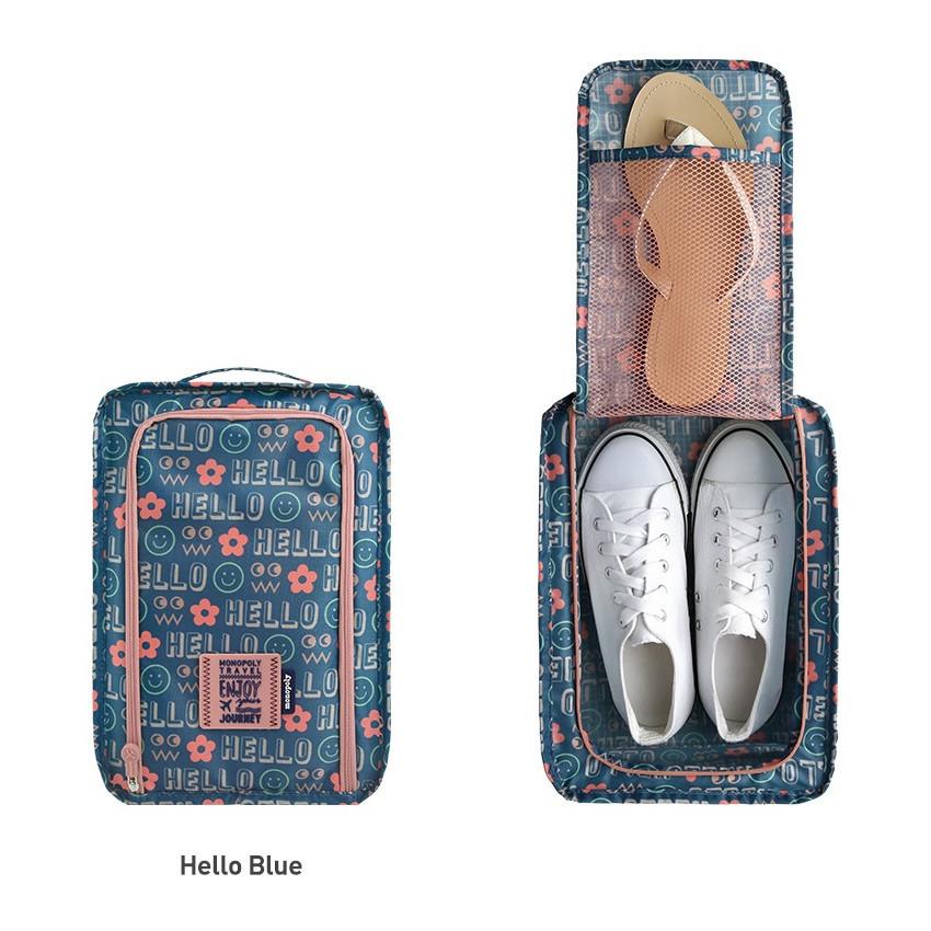 Hello blue - Monopoly Enjoy journey travel zip shoes pouch bag