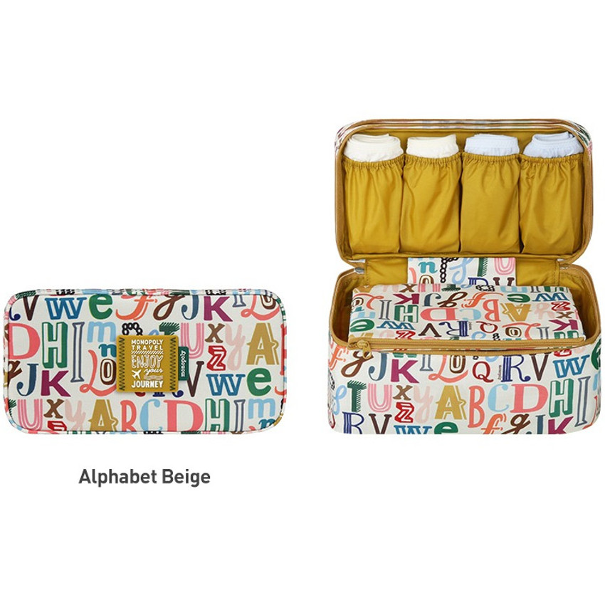 Alphabet beige - Monopoly Enjoy journey travel pouch bag for underwear and bra