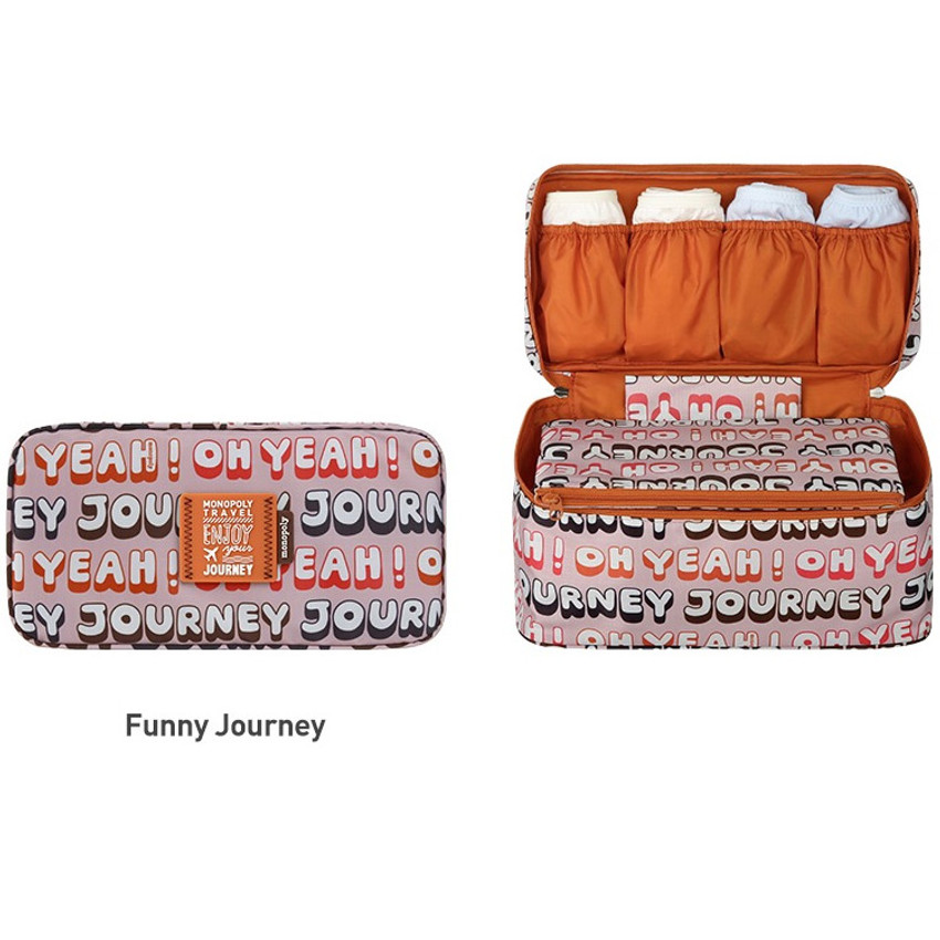 Funny journey - Monopoly Enjoy journey travel pouch bag for underwear and bra
