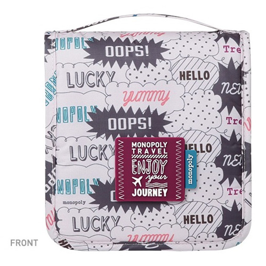 Front - Monopoly Enjoy journey small travel hanging toiletry pouch bag