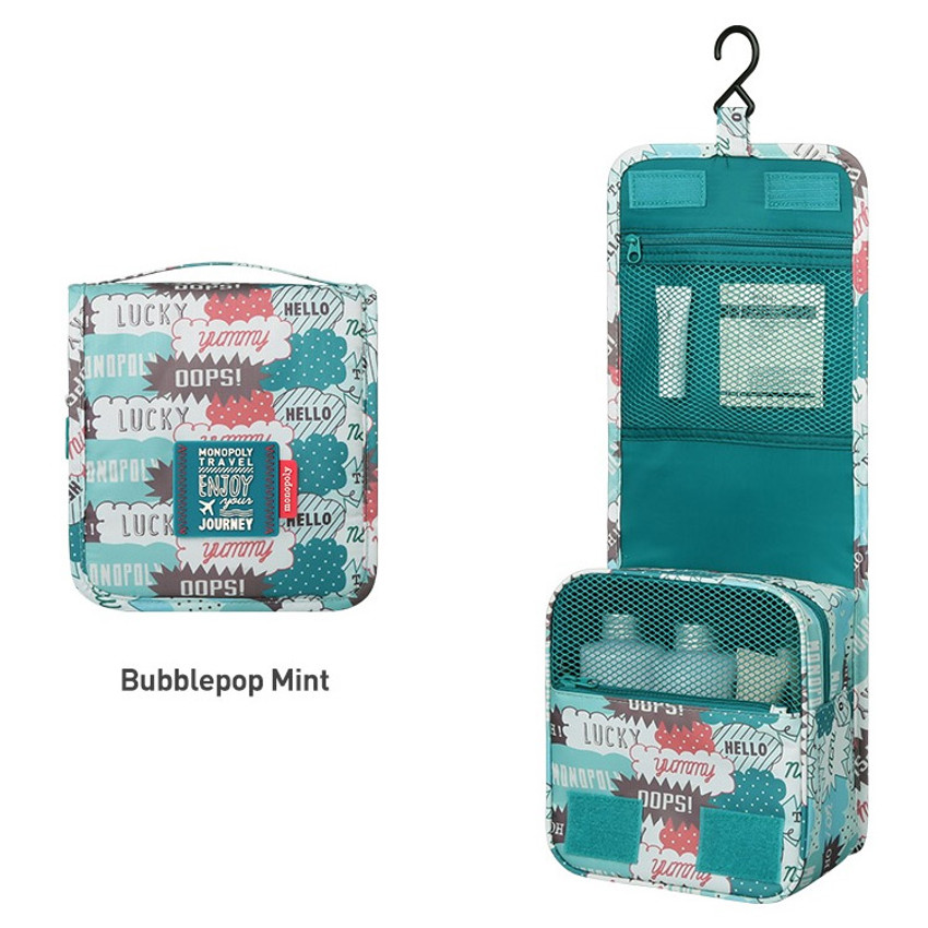Bubblepop mint - Monopoly Enjoy journey small travel hanging toiletry pouch bag