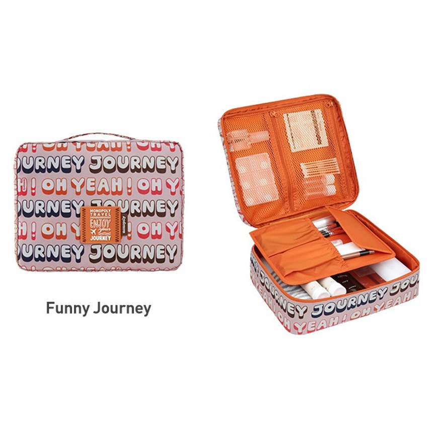 Funny journey - Monopoly Enjoy journey travel large multi pouch bag packing organizer