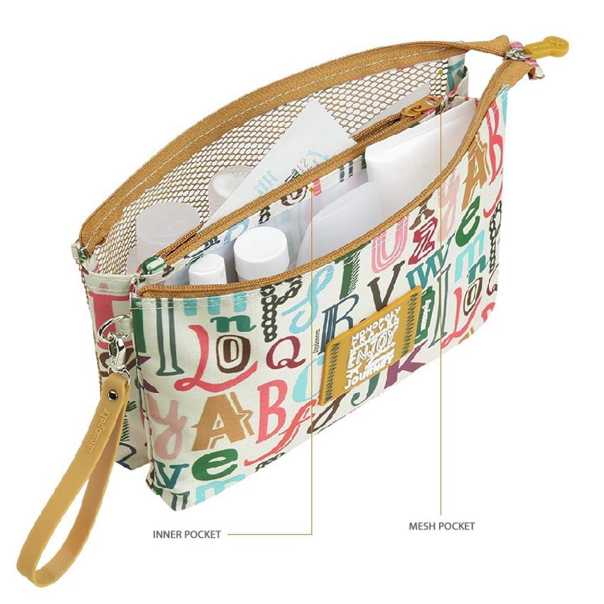 Monopoly Enjoy journey travel large mesh zipper pouch