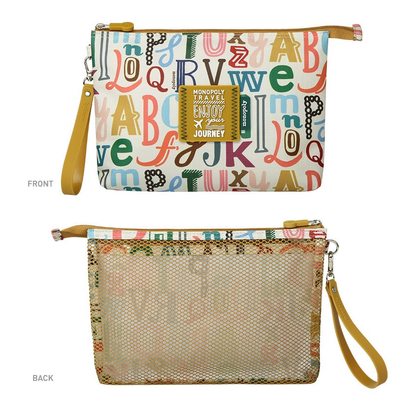 Front and back - Monopoly Enjoy journey travel large mesh zipper pouch