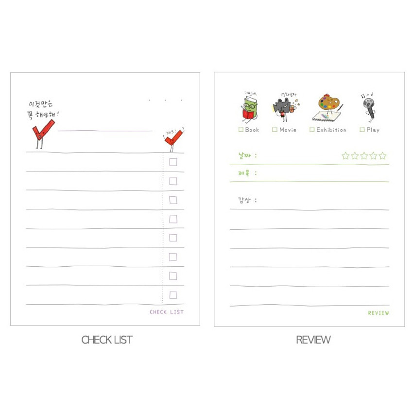 Checklist, Review - Todac Todac illustration daily sticky notepad memo