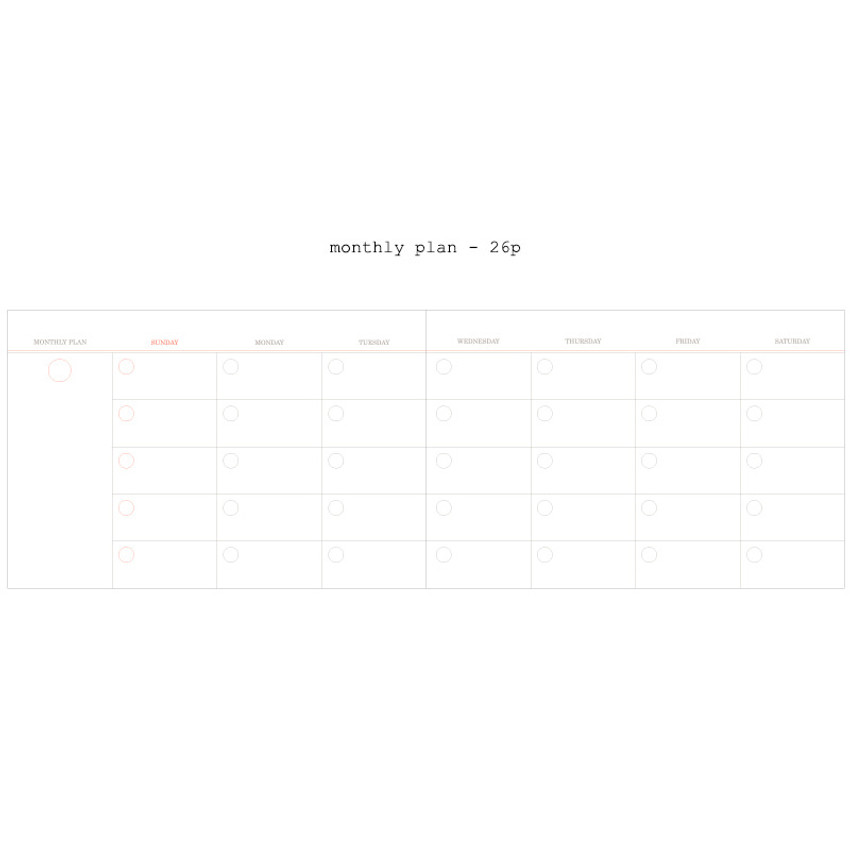 Monthly plan - Moment undated weekly planner scheduler