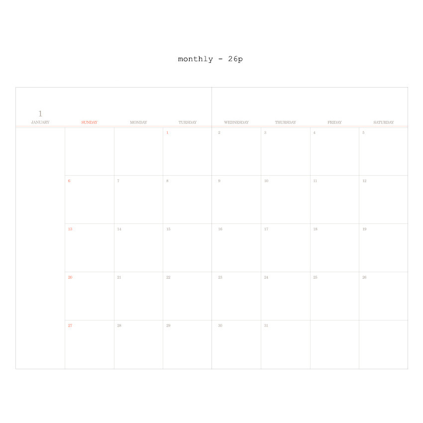 Monthly - 2019 Moment dated weekly diary
