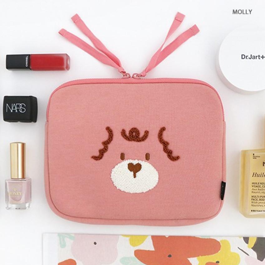 Molly - ROMANE My rolly face cotton zipper pouch