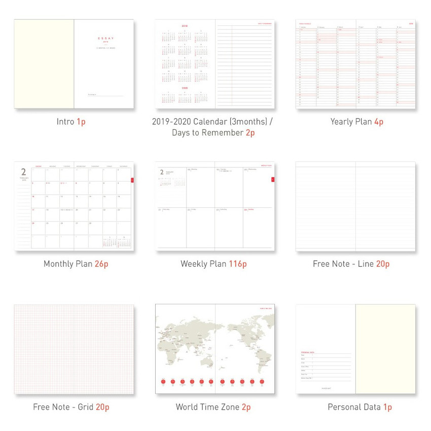 2019 Essay A6 hardcover dated weekly planner agenda