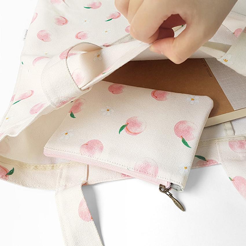Peach - O-check Pattern small cotton flat zipper pouch