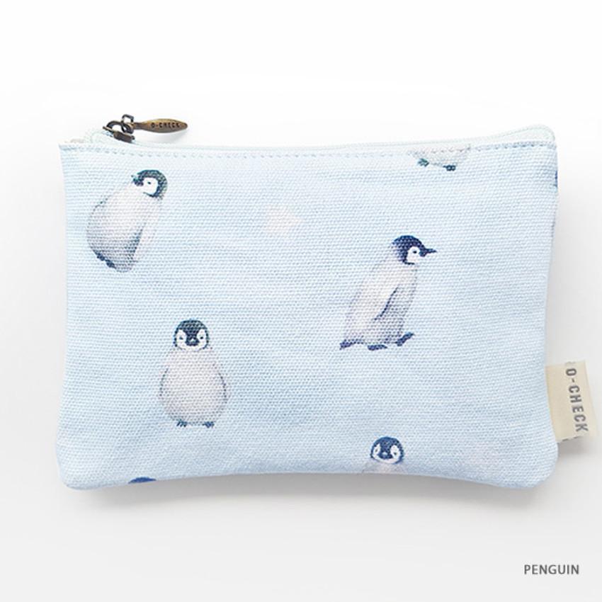 Penguin - O-check Pattern small cotton flat zipper pouch