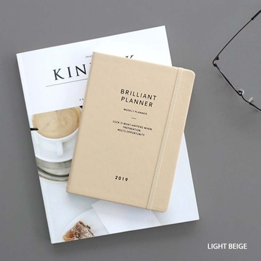 Light beige - 2019 Brilliant simple dated weekly planner