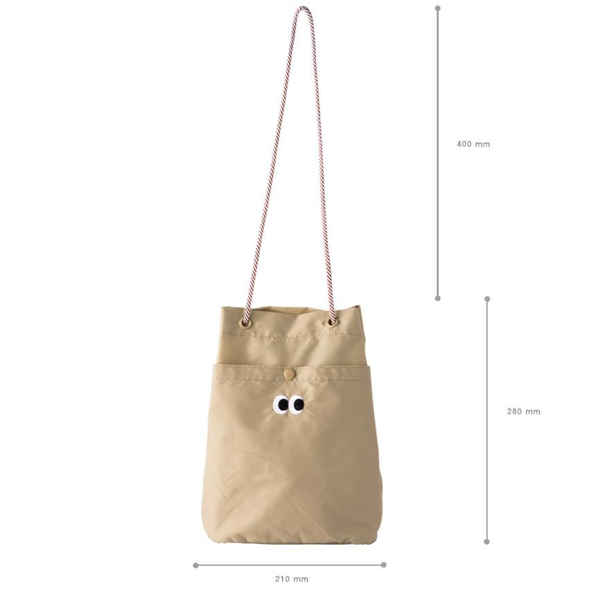 Size of Som Som durable taslan bucket shoulder bag