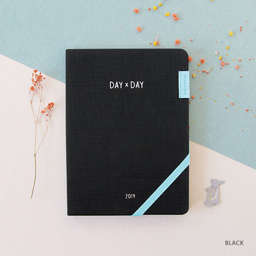 Black - 2019 Day by Day large dated weekly diary