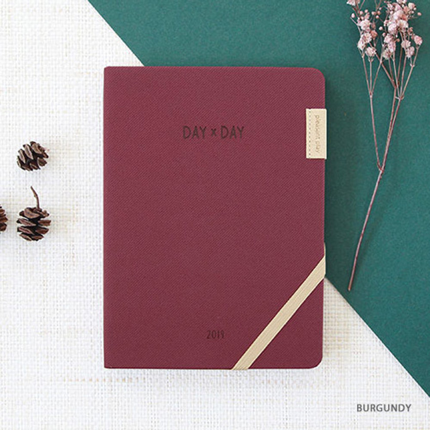 Burgundy - 2019 Day by Day large dated weekly diary
