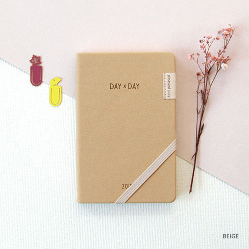 Beige - 2019 Day by Day small dated weekly diary