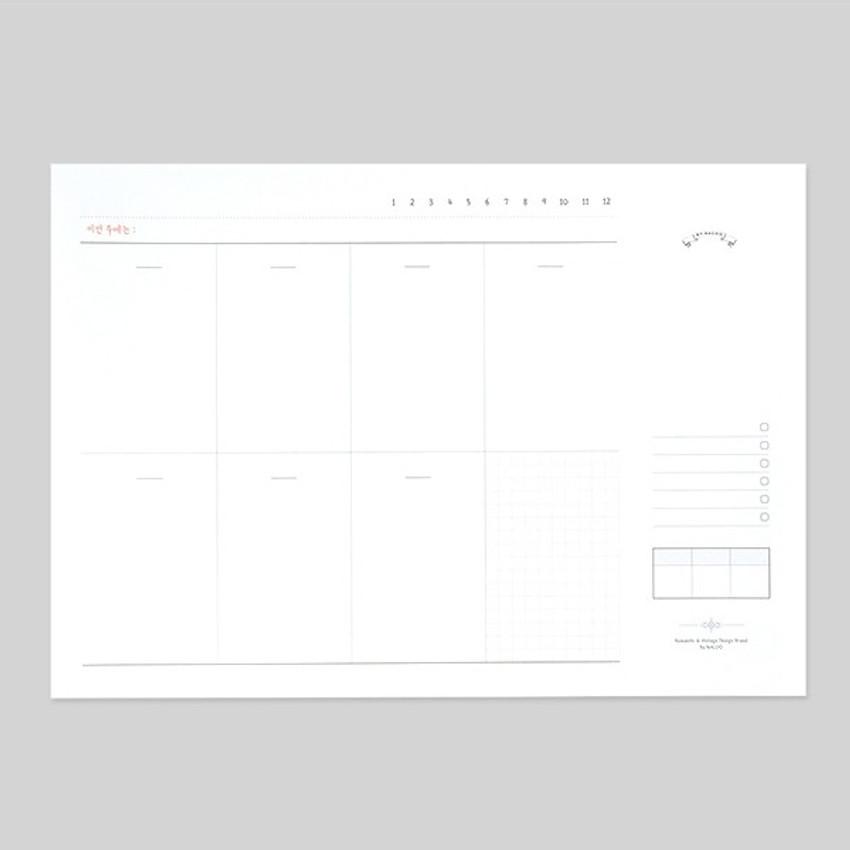 NACOO Plain dateless weekly desk planner pad
