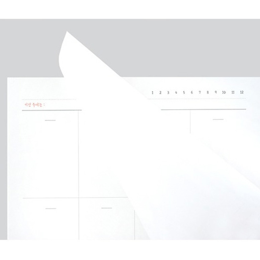 Easy tear out - Plain dateless weekly desk planner pad