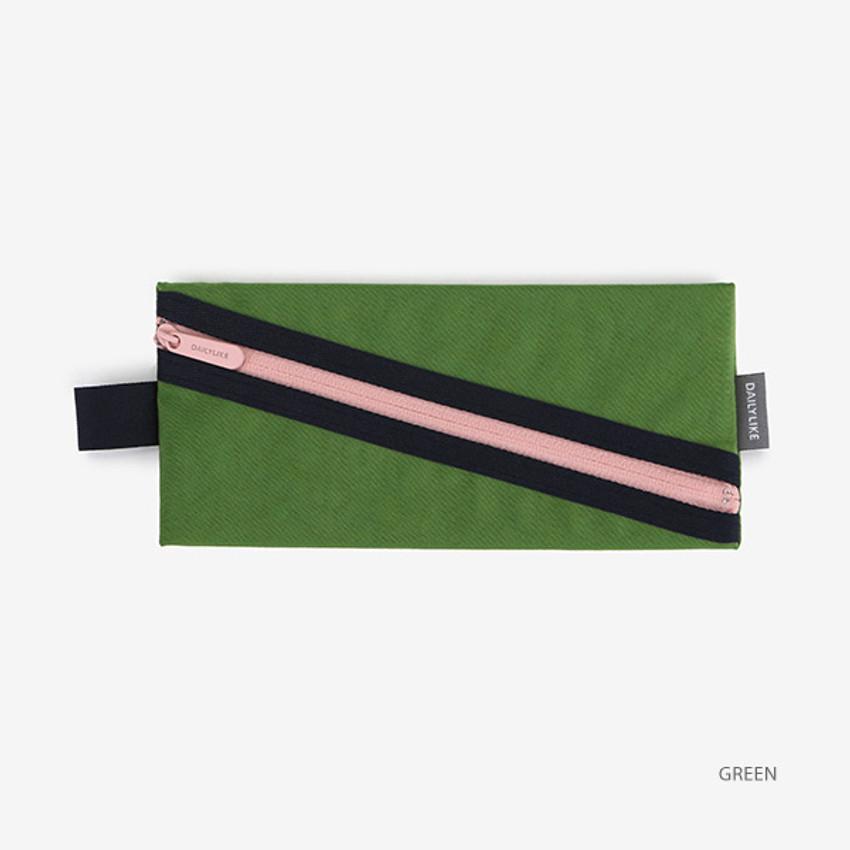 Green - Le petit marche colorful line zipper pen case