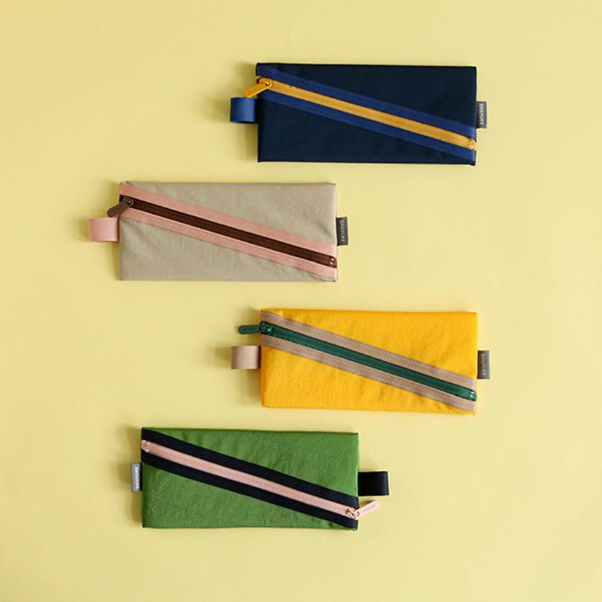 Le petit marche colorful line zipper pen case
