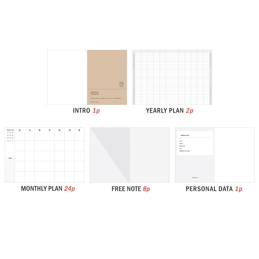 Composition - 12 Months A6 size undated monthly scheduler