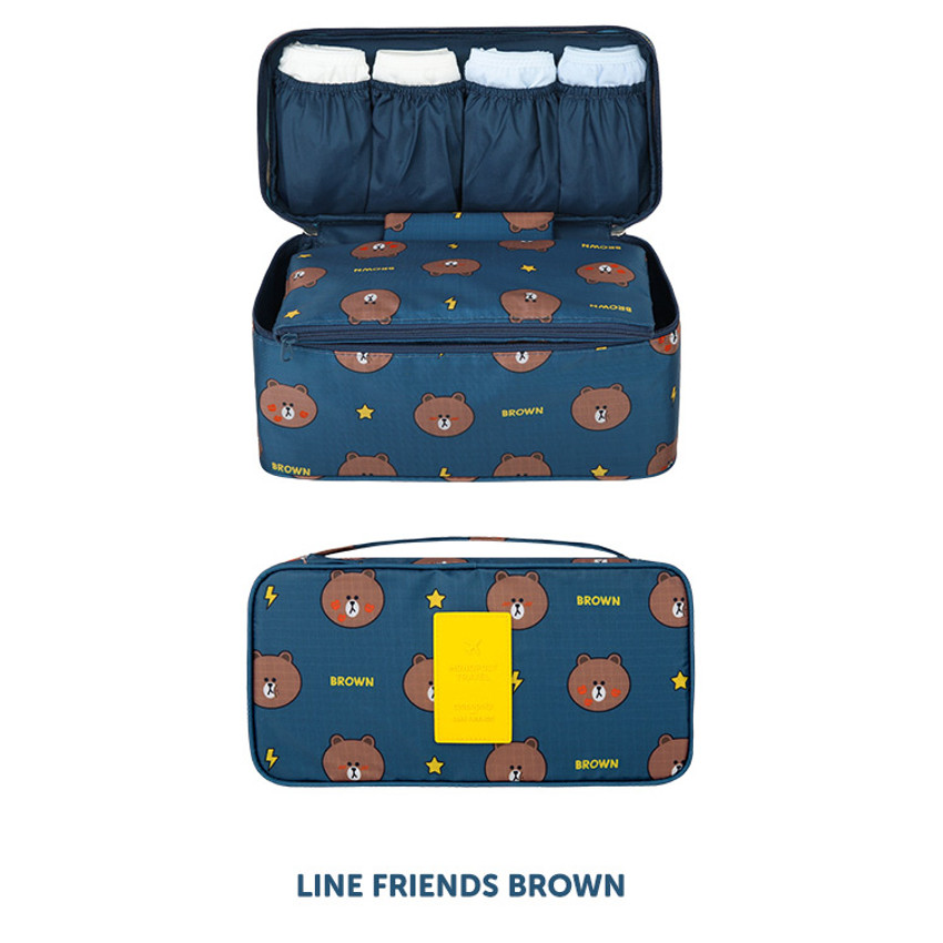 Brown - Line friends travel underwear pouch organizer