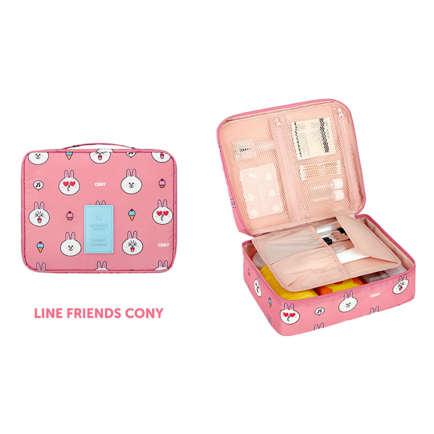 Cony - Line friends travel large multi pouch bag organizer