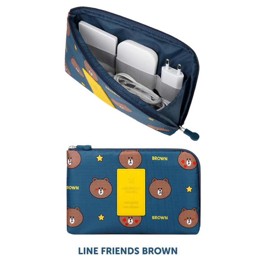 Brown - Line friends half zip around large cable pouch (2018)