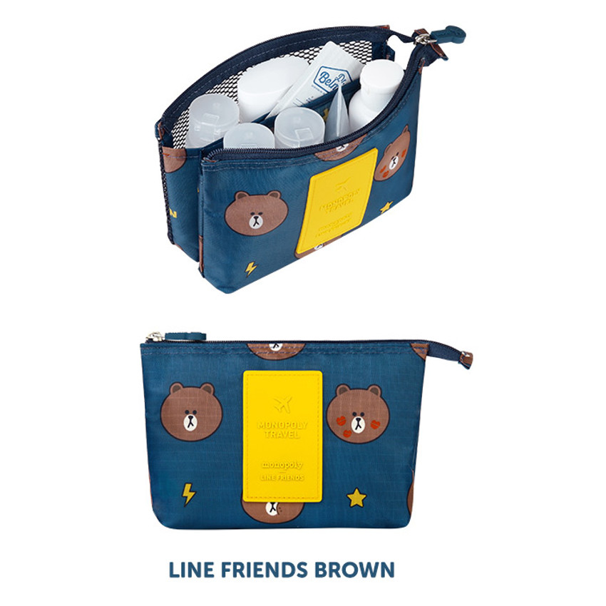 Brown - Line friends travel mesh small pocket pouch