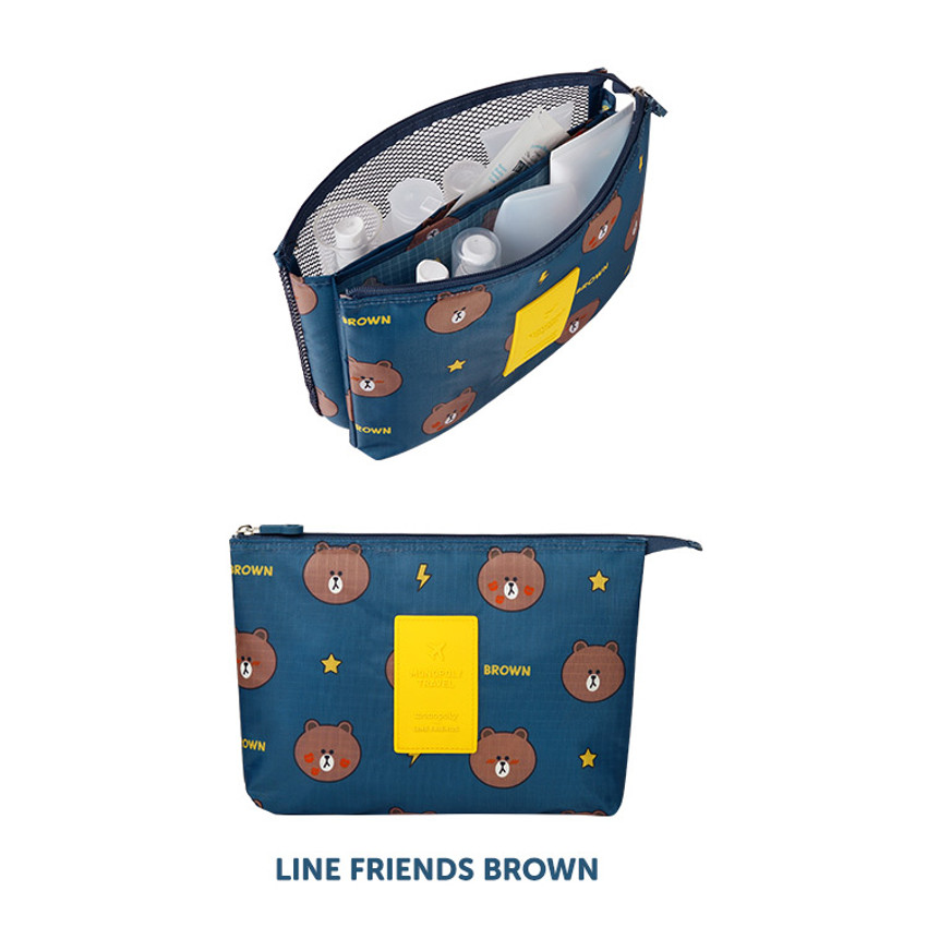 Brown - Line friends travel mesh large pocket pouch
