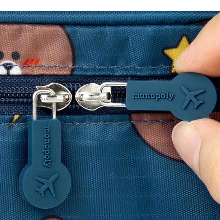 Rubber zipper slider - Line friends pattern travel hanging toiletry bag