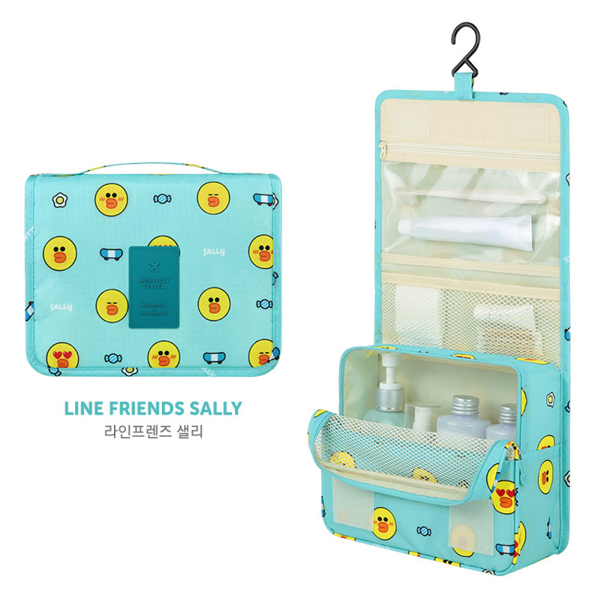 Sally - Line friends pattern travel hanging toiletry bag