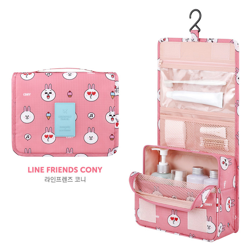 Cony - Line friends pattern travel hanging toiletry bag