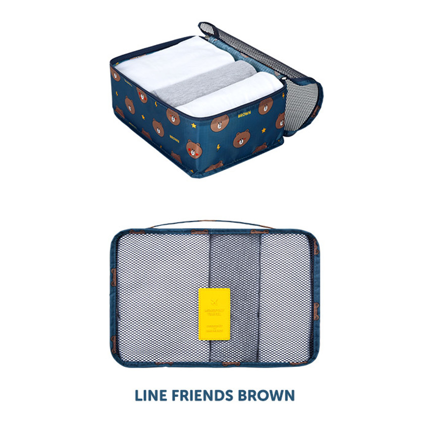 Brown - Line friends small travel packing cube organizer bag