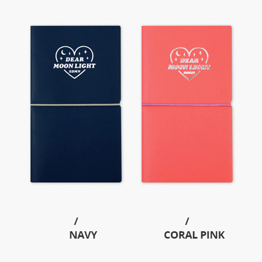 Navy, Coral pink - Dear moonlight dateless weekly diary