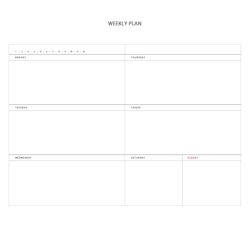 Weekly - Vintage new color dateless weekly journal planner