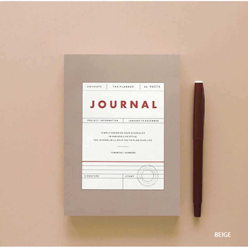 Beige - Vintage new color dateless weekly journal planner