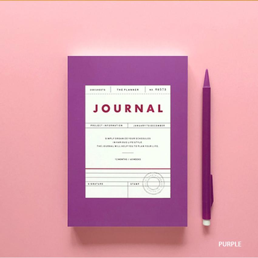 Purple - Vintage new color dateless weekly journal planner