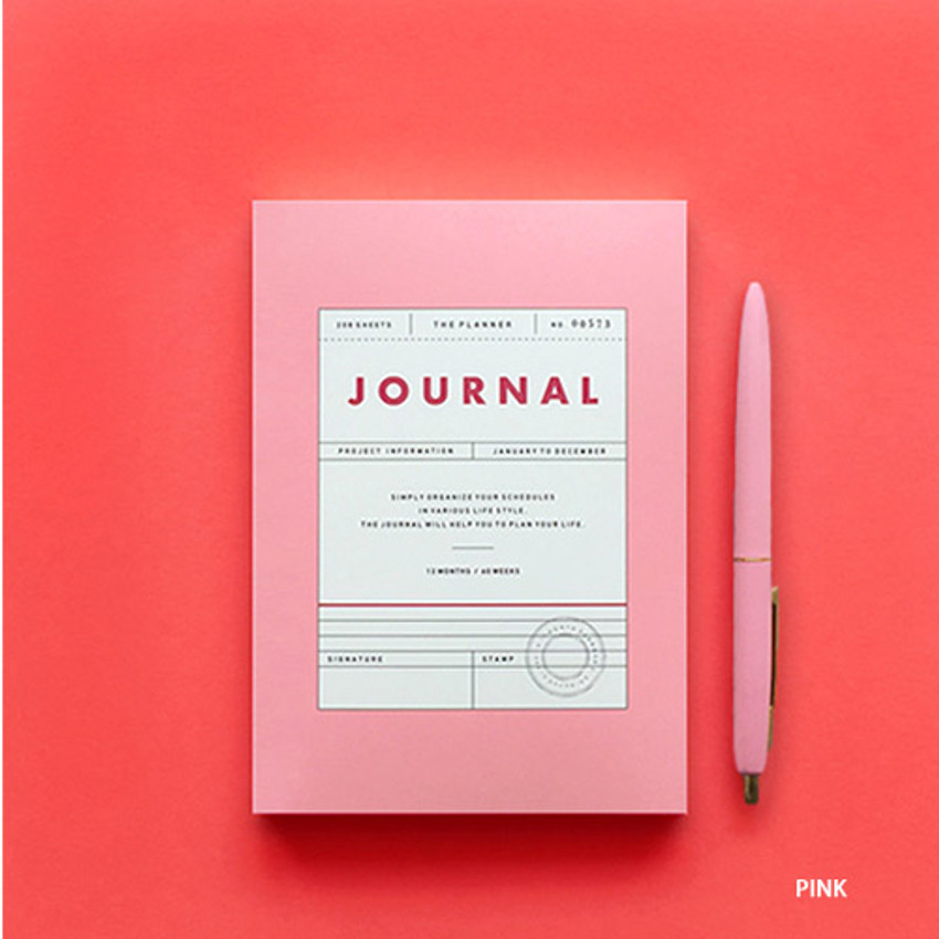 Pink - Vintage new color dateless weekly journal planner