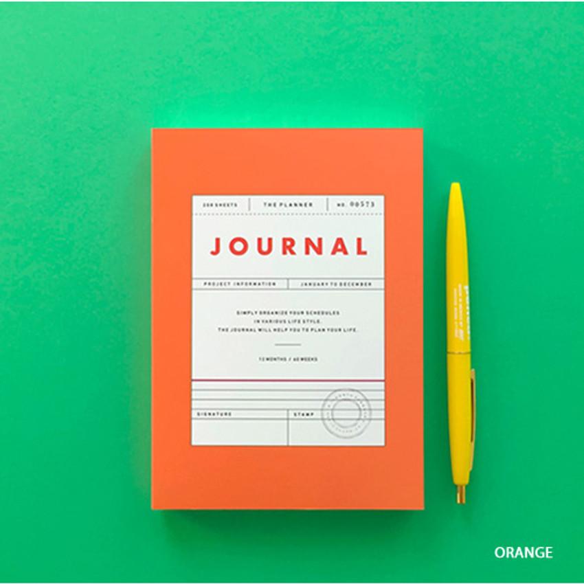 Orange - Vintage new color dateless weekly journal planner