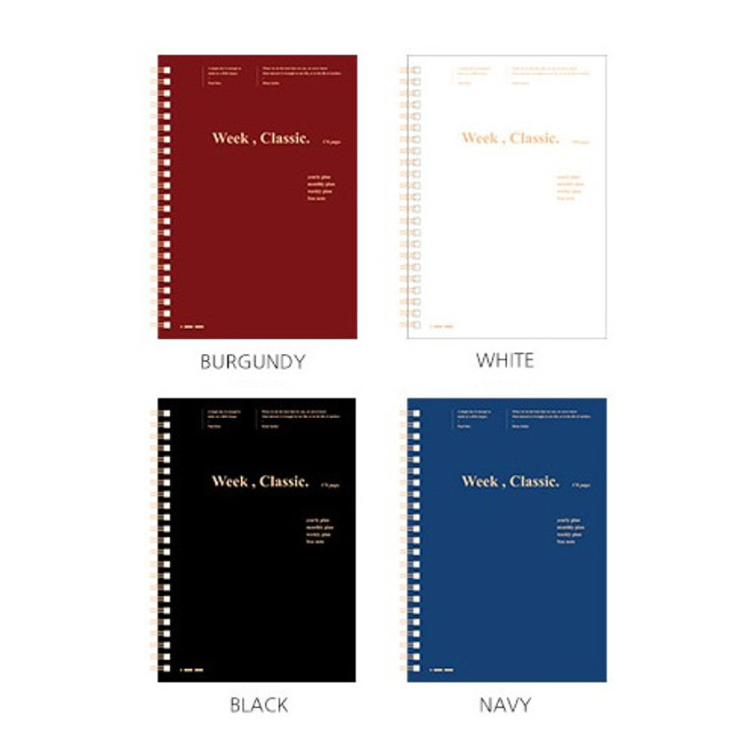 Color - Wanna This Classic spiral bound dateless weekly planner