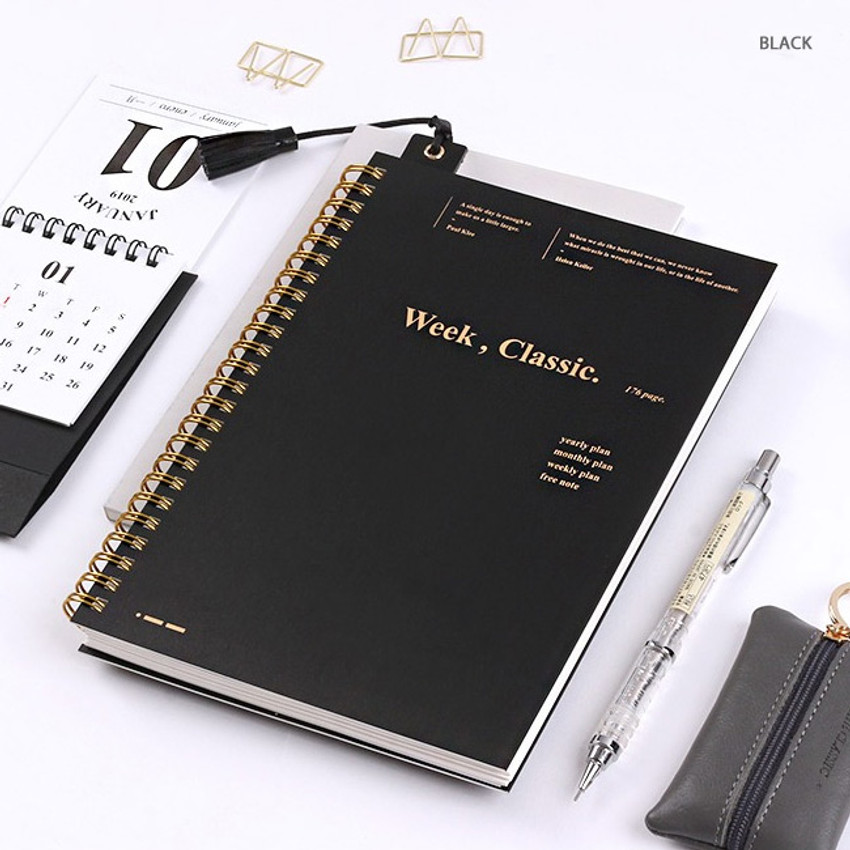 Black - Wanna This Classic spiral bound dateless weekly planner