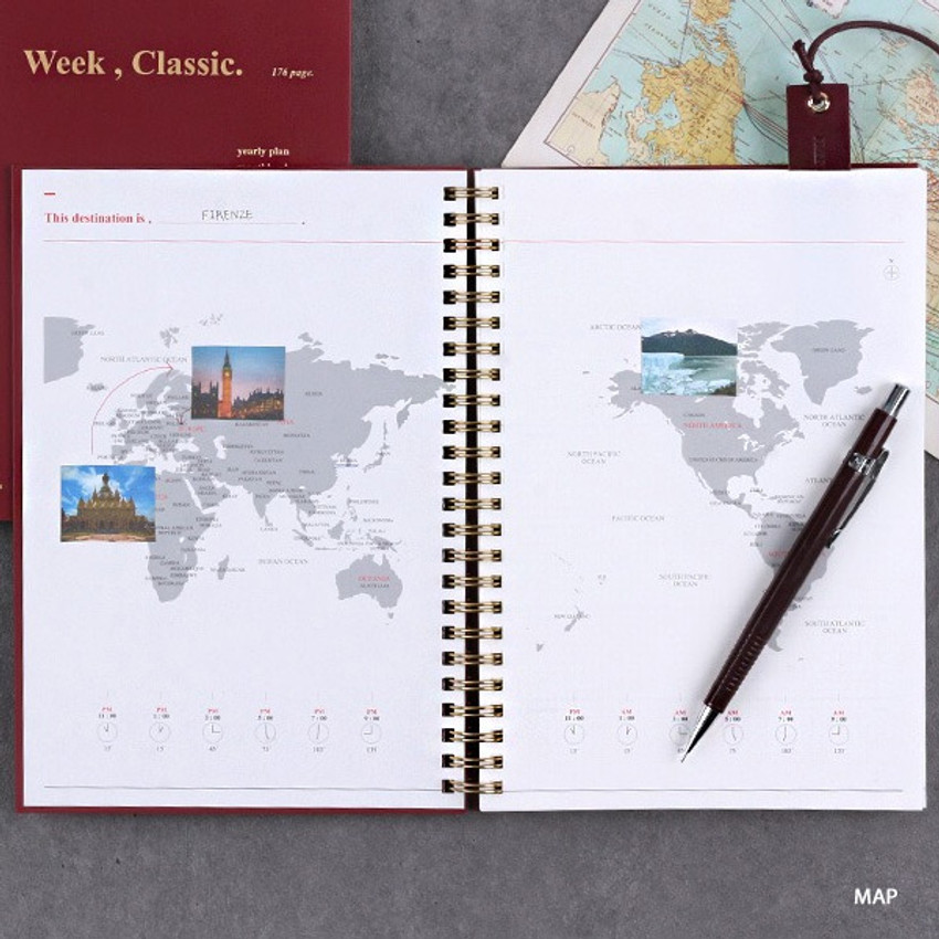 Map - Wanna This Classic spiral bound dateless weekly planner
