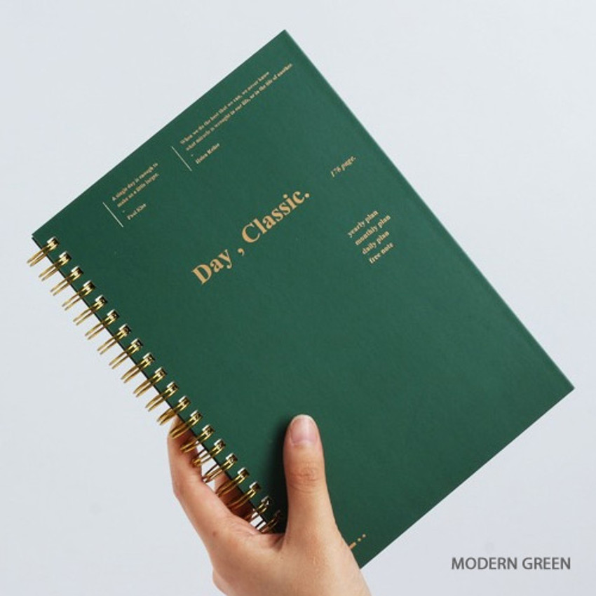 Modern green - Wanna This Classic wire bound dateless daily scheduler