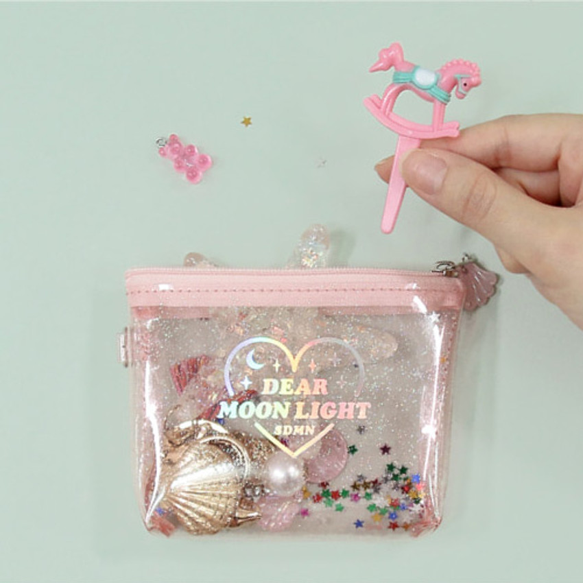 Dear moonlight twinkle zipper card case